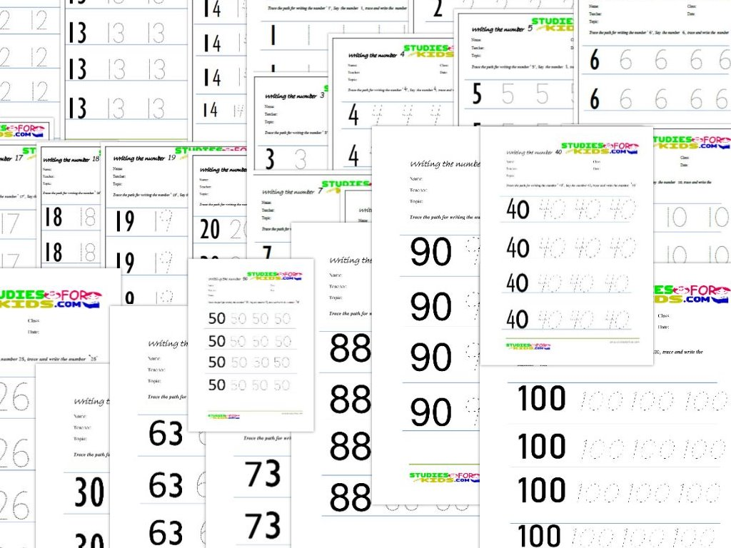 Kids Trace Numbers Worksheet 1 100 Downloads