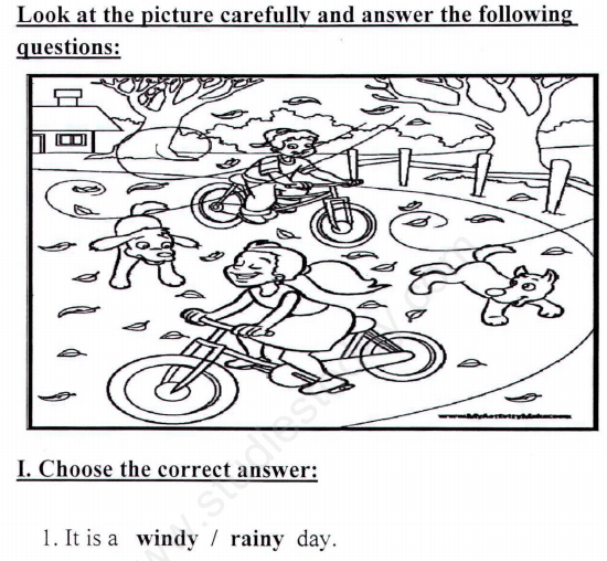 CBSE Class 1 English Picture Comprehension Assignment