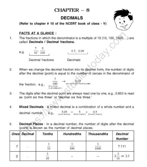 small resolution of CBSE Class 5 Mental Maths Decimals Worksheet