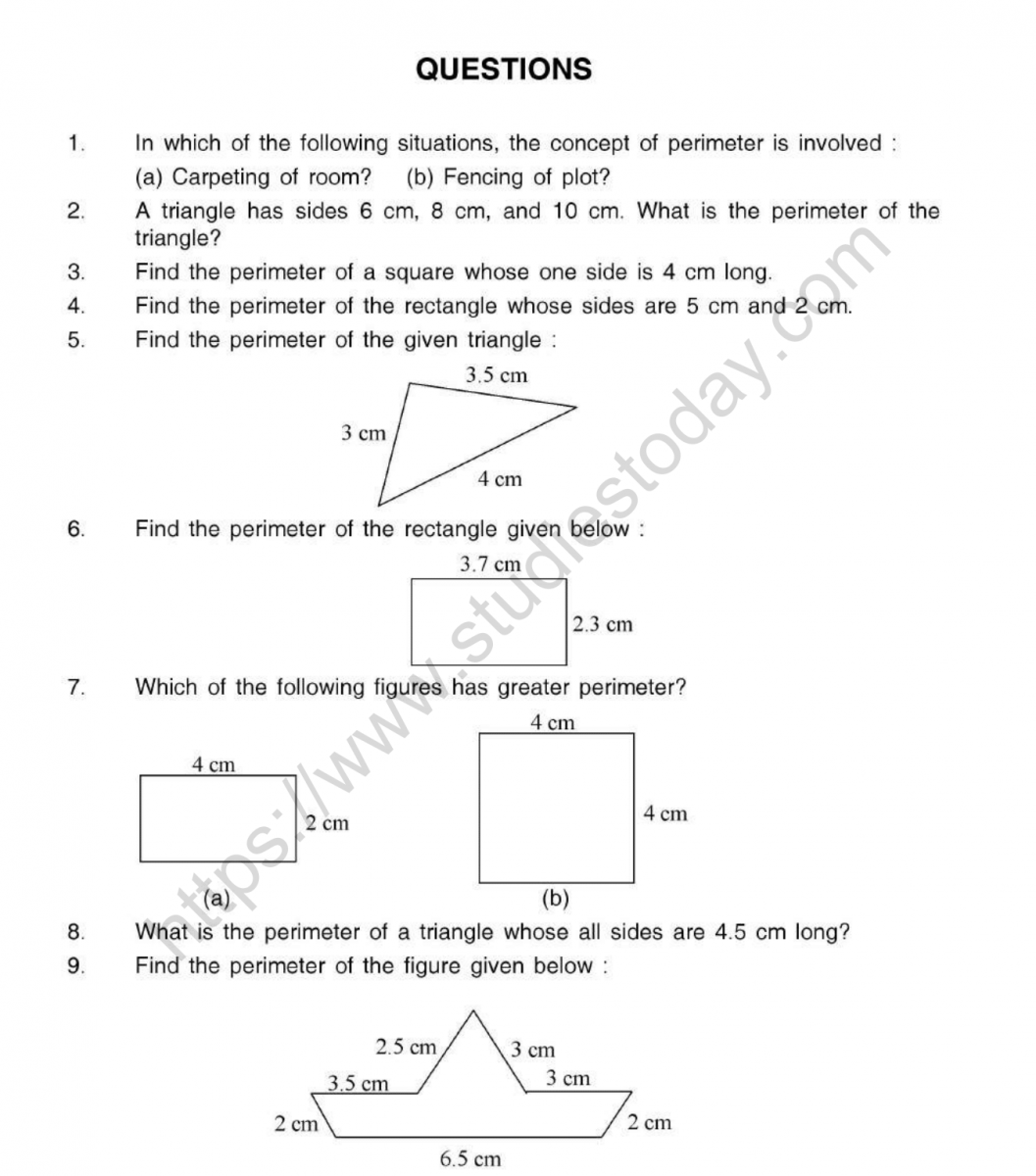 hight resolution of CBSE Class 5 Mental Maths Perimeter And Area Worksheet