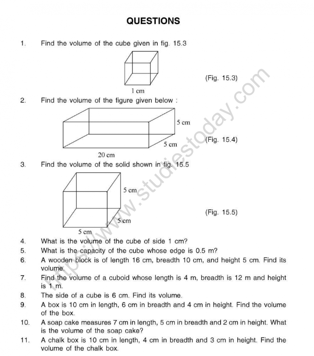Cbse Class 5 Mental Maths Volume Worksheet