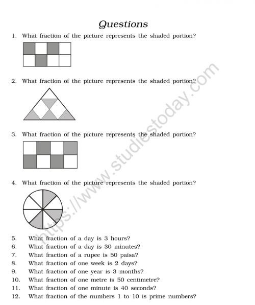small resolution of CBSE Class 6 Mental Maths Fractions Worksheet