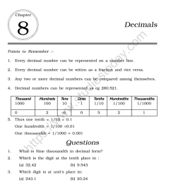 CBSE Class 6 Mental Maths Decimals Worksheet [ 1200 x 1004 Pixel ]