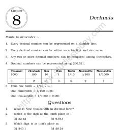 CBSE Class 6 Mental Maths Decimals Worksheet [ 1200 x 1004 Pixel ]