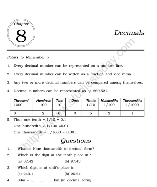 small resolution of CBSE Class 6 Mental Maths Decimals Worksheet