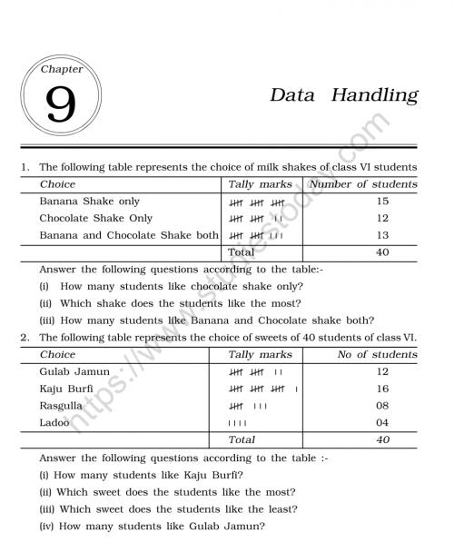 small resolution of CBSE Class 6 Mental Maths Data Handling Worksheet