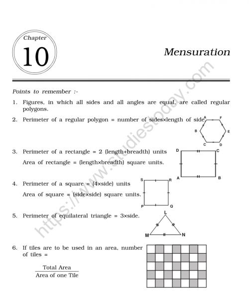 small resolution of CBSE Class 6 Mental Maths Mensuration Worksheet