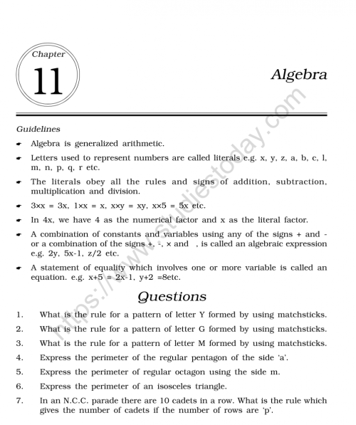 small resolution of CBSE Class 6 Mental Maths Algebra Worksheet