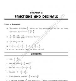 CBSE Class 7 Mental Maths Fractions And Decimals Worksheet [ 1200 x 1050 Pixel ]