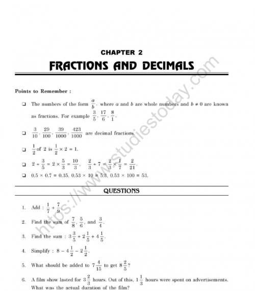 small resolution of CBSE Class 7 Mental Maths Fractions And Decimals Worksheet