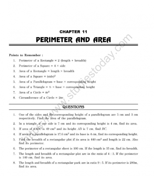 small resolution of CBSE Class 7 Mental Maths Perimeter And Area Worksheet