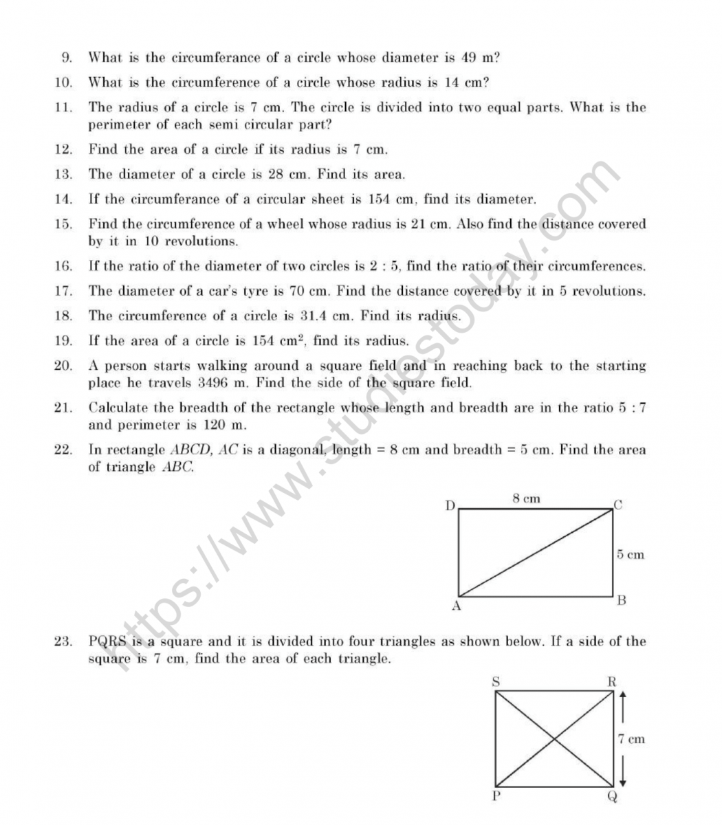 hight resolution of CBSE Class 7 Mental Maths Perimeter And Area Worksheet