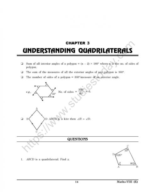 small resolution of CBSE Class 8 Mental Maths Understanding Quadrilaterals Worksheet