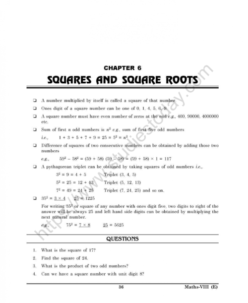 small resolution of CBSE Class 8 Mental Maths Squares And Square Roots Worksheet