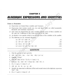 CBSE Class 8 Mental Maths Algebraic Expressions And Identities Worksheet [ 1200 x 981 Pixel ]