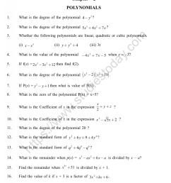 CBSE Class 9 Mental Maths Polynomials Worksheet [ 1200 x 1003 Pixel ]