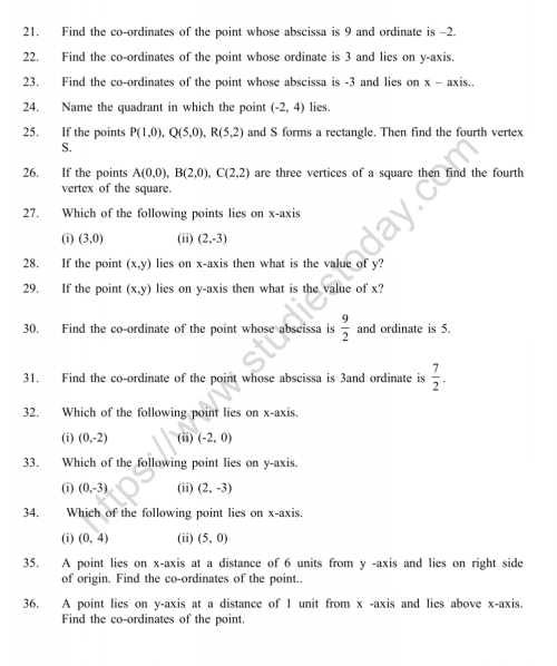 small resolution of Class 9 Coordinate Geometry Chapter Worksheets