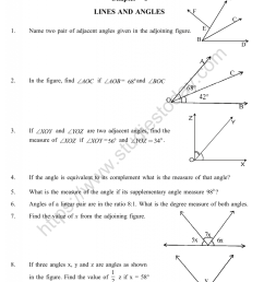 CBSE Class 9 Mental Maths Lines And Angles Worksheet [ 1200 x 1003 Pixel ]