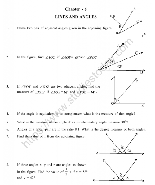 small resolution of CBSE Class 9 Mental Maths Lines And Angles Worksheet