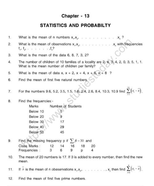 small resolution of CBSE Class 10 Mental Maths Statistics And Probabilty Worksheet