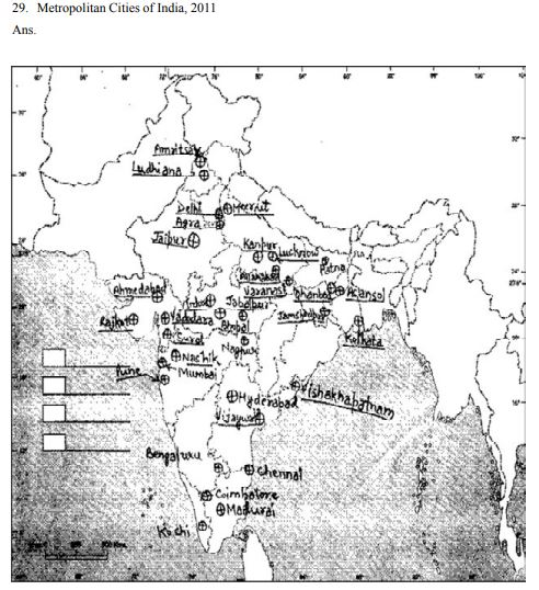CBSE Class 12 Geography Map Metropolitan Cities of India