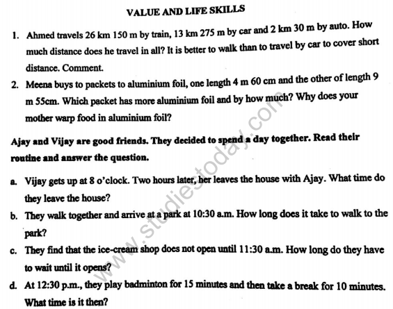 CBSE Class 4 Mathematics VBQs Value Based Questions