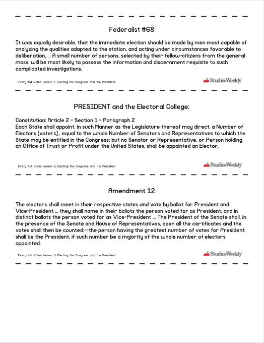 Studies Weekly Federalist, President, Amendment 12