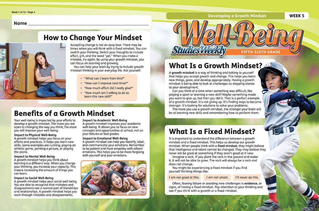 Studies Weekly Well-Being Curriculum Mindset Article