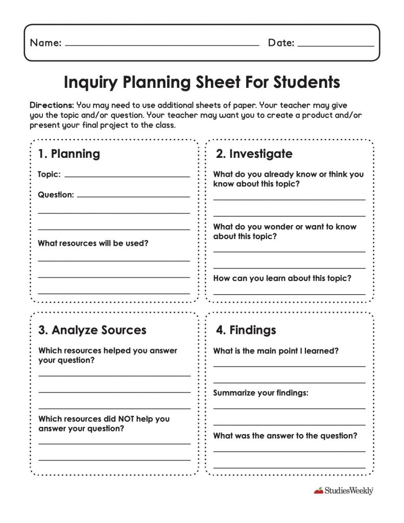 Inquiry Planning Sheet for Students