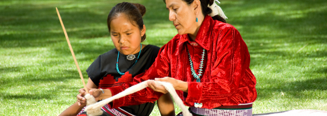 An American Indian mother and daughter.