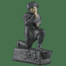 """Statuette, dite """"l'Adorant de Larsa"""", représentant le roi Hammurabi de Babylone en prière devant le dieu Amurru  Origine : Larsa, Mésopotamie (Irak actuel) Vers 1760 avant J.C."""