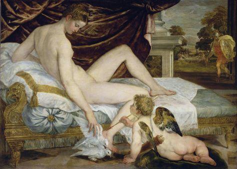 Lambert Sustris, Vénus et l'Amour, Vers 1550 Huile sur toile, 132 x 184 cm Louvre-Lens