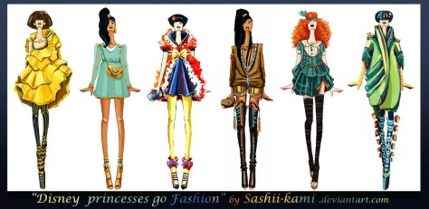 """Disney princesses go fashion"" par http://sashiiko-anti.deviantart.com"