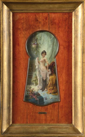 Femme nue en déshabillé, vue par le trou de la serrure Oil on panel - Huile sur panneau 47 x 32 cm  (18.5 x 12.6 in.)