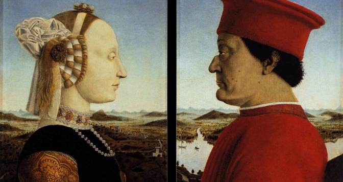 Piero della Francesca Portraits of Federico da Montefeltro and His Wife Battista Sforza Tempera on panel, 47 x 33 cm (each) 1465-66