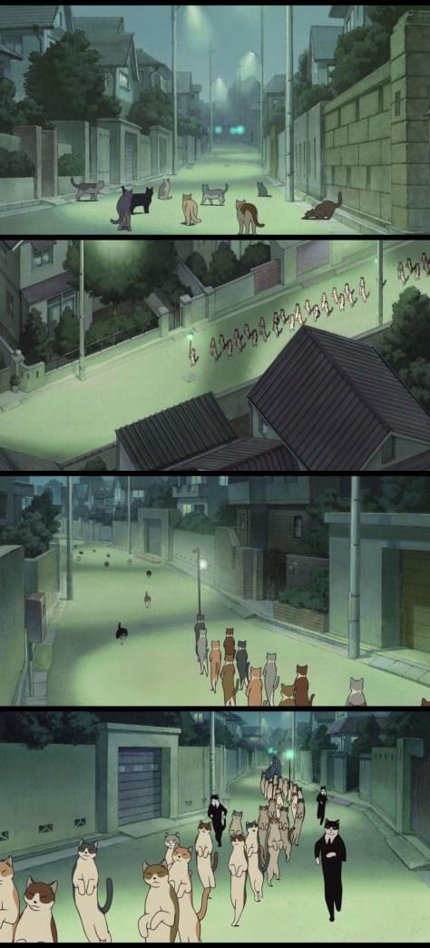 La procession des chats déambule dans la ville jusqu'à la maison de la jeune Haru.