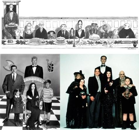 En haut : Dessin de Charles Addams, le dessinateur originel de la Famille Addams. En bas à gauche : Photographie des acteurs interprétant la famille dans la série de 1964. En bas à droite : Photographie des acteurs interprétant la famille dans le film de 1991.