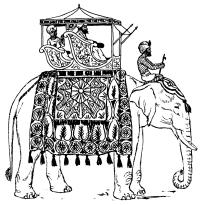 Eléphant portant un Howdah.