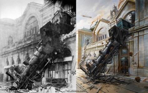 Comparaison entre la photographie originale de l'accident et la peinture de Didier Graffet.