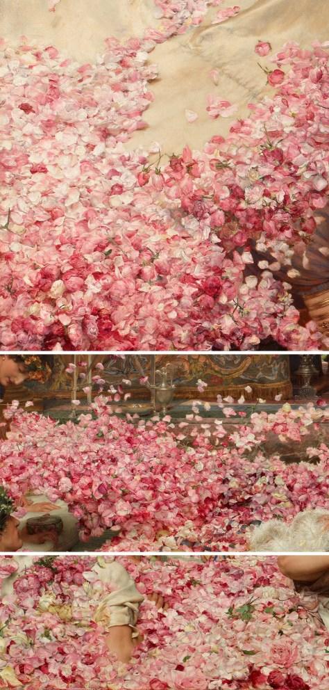Vues en détail sur les roses peintes par Lawrence Alma-Tadema.