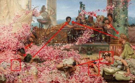 Le jeu des regards nous pousse à voir le tableau dans son ensemble.