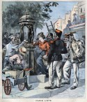 """Illustration du journal Le Petit Parisien, """"Paris l'été"""", montrant des gens se déshydratant à une fontaine Wallace, 1900."""