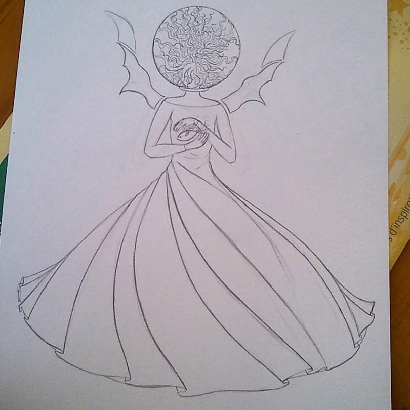 """La Fée Electricité (The Electricity Fairy) : Premier croquis """"au propre""""."""
