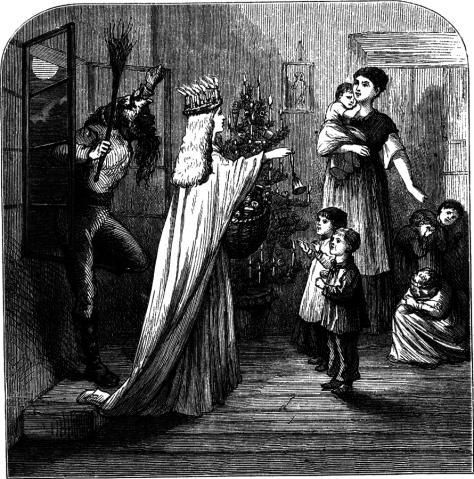 Représentation gravée du XIXe siècle montrant le Christkindel et Hans Trapp. Auteur inconnu.
