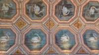 Intérieur du Palais National de Sintra où les animaux décoratifs occupent beaucoup de place. Ici, vue sur un plafond peint où l'on peut admirer des cygnes.