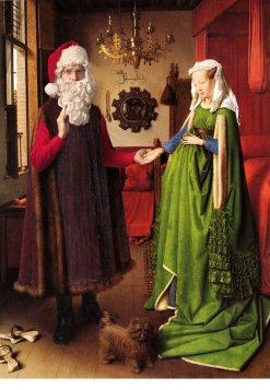 """Ed Wheeler revisite la célèbre toile """"Les époux Arnolfini"""" de Van Eyck."""