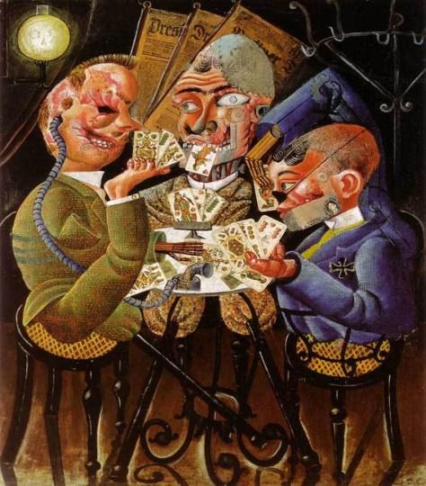 Otto Dix, Les joueurs de Skat, 1920, Huile sur toile et collage, 100 x 87 cm, Galerie Nationale, Berlin.  Tableau souvent choisi pour illustrer l'horreur des mutilations subies par les soldats au cours de la Grande Guerre. Otto Dix était un artiste allemand et témoignait donc des mêmes horreurs en Allemagne qu'en France : des hommes broyés par la guerre, transformés malgré eux en monstres.