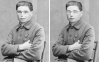 Soldat passé par l'atelier d'Anna Coleman Ladd. Vue avant/après.