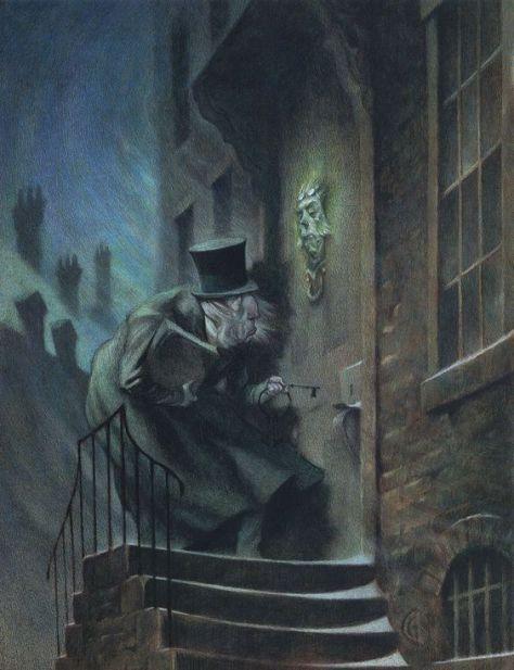 Illustration de Carter Goodrich pour A Christmas Carol (Un Chant de Noël) de Charles Dickens.