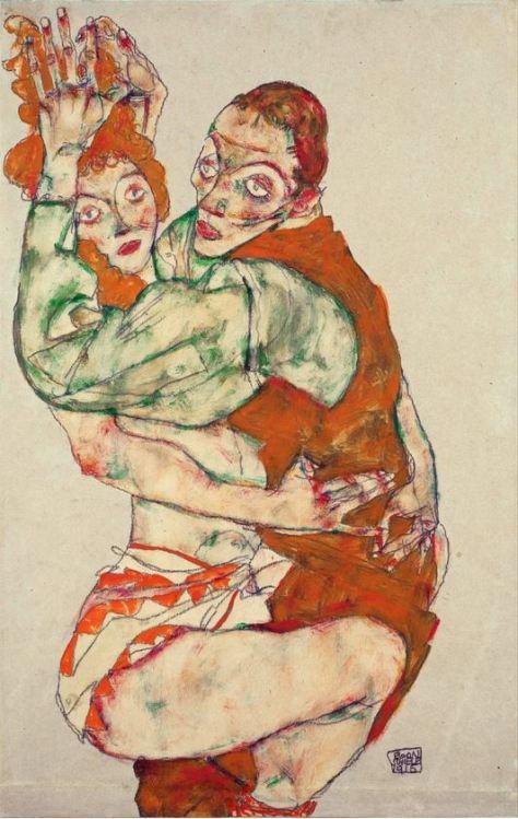 Egon Schiele, Faire l'amour, Gouache et craie noire sur papier, 49,6 × 31,7 cm, 1915, Leopold Museum, Vienne.